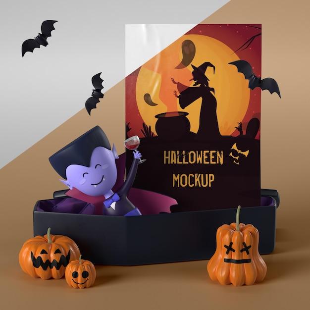 Vampire Dans Le Cercueil à Côté De La Carte D'halloween Psd gratuit