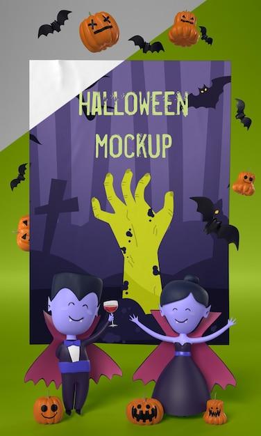 Vampires à Côté De La Carte D'halloween Psd gratuit