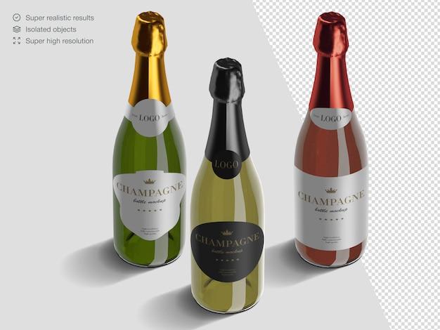 Variété Isométrique Réaliste De Modèle De Maquette De Bouteilles De Champagne PSD Premium