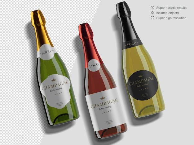 Variété De Vue De Dessus Réaliste De Modèle De Maquette De Bouteilles De Champagne PSD Premium