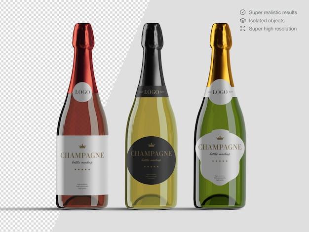 Variété De Vue De Face Réaliste De Modèle De Maquette De Bouteilles De Champagne PSD Premium