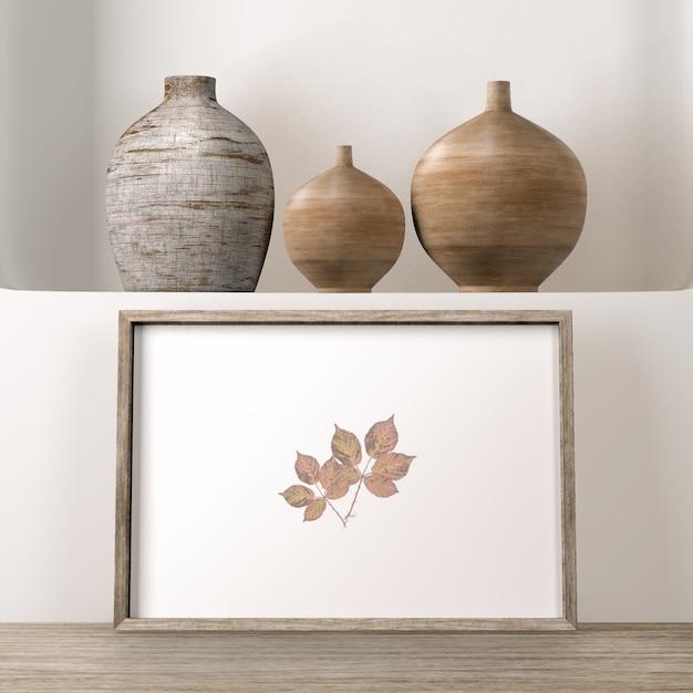 Vases En Surface Avec Cadre Comme Décor De Maison Psd gratuit