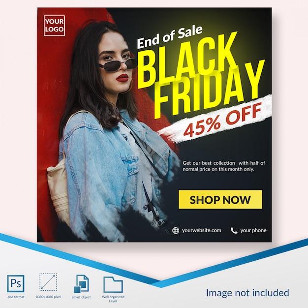 Vendredi noir en fin de vente offre de réduction spéciale médias sociaux post modèle PSD Premium