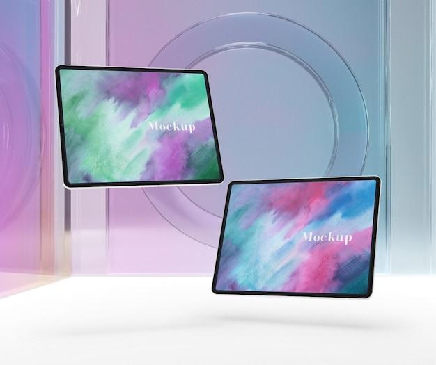 Verre transparent avec collection de tablettes Psd gratuit