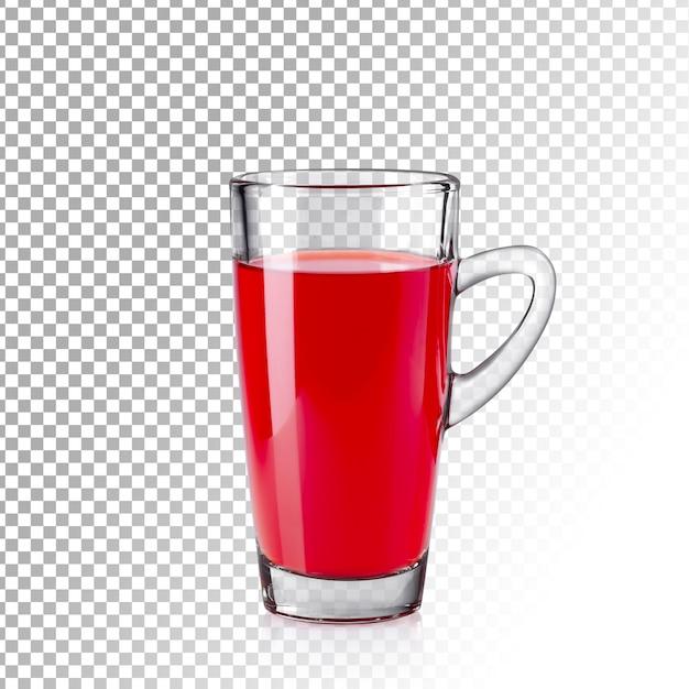 Verre Transparent Réaliste De Jus Rouge Isolé PSD Premium