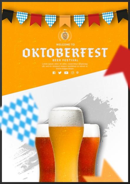 Verres à Bière Oktoberfest Au Design Plat Psd gratuit