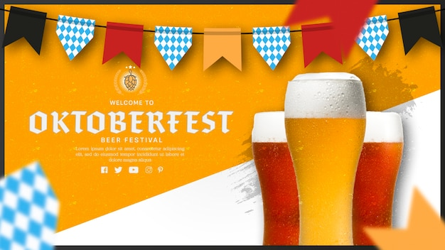 Verres à Bière Oktoberfest Avec Guirlande Psd gratuit