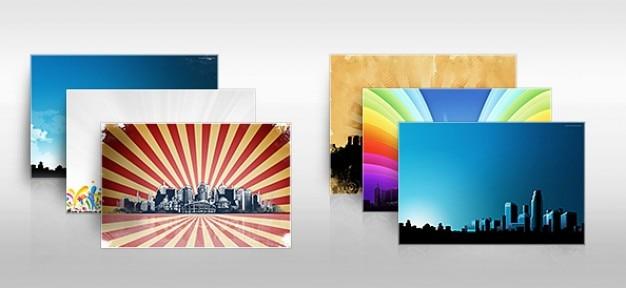 La ville de fond avec sunburst coloré Psd gratuit
