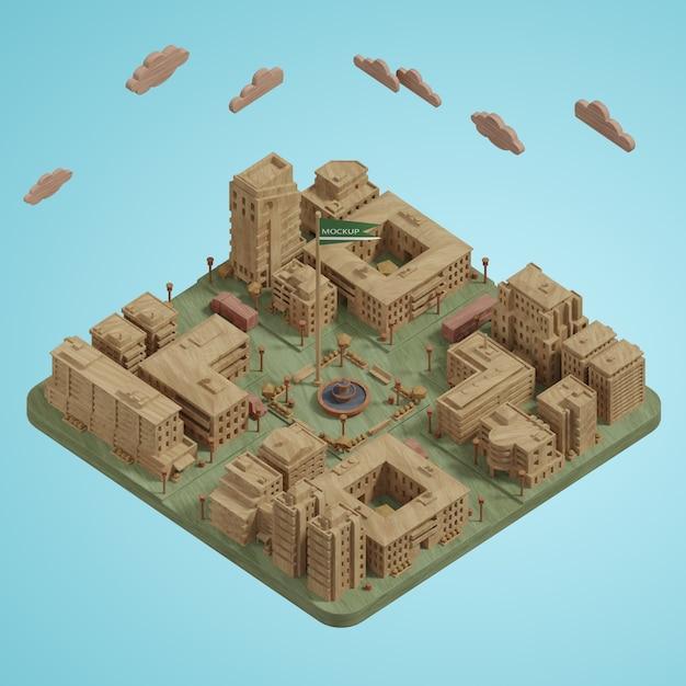 Villes Miniatures Modèle 3d Psd gratuit
