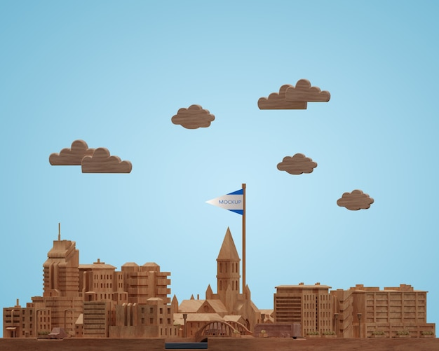 Villes Modèle De Bâtiments De La Journée Mondiale Miniature Psd gratuit