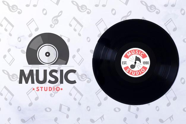 Vinyle De Musique Vue De Dessus Psd gratuit