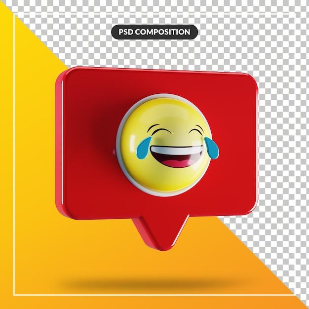Visage Avec Des Larmes De Symbole Emoji De Joie Dans La Bulle De Dialogue PSD Premium