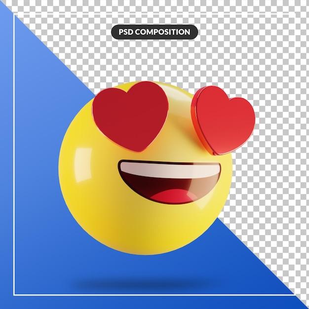 Visage Souriant Emoji 3d Avec Des Yeux De Coeur Isolés Pour La Composition Des Médias Sociaux PSD Premium