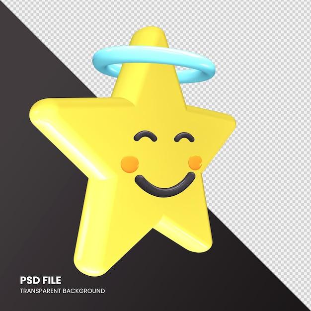 Visage Souriant De Rendu 3d Emoji étoile Avec Halo Isolé PSD Premium