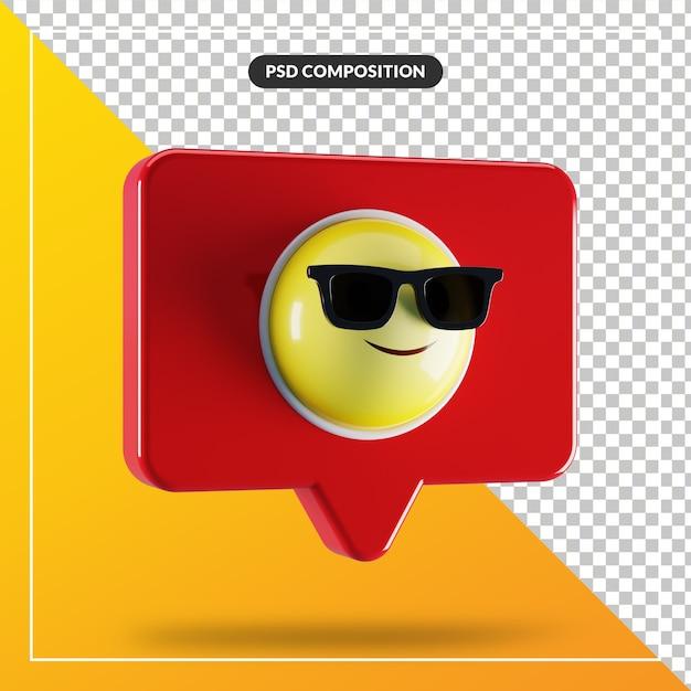 Visage Souriant Avec Symbole Emoji Lunettes De Soleil Dans La Bulle De Dialogue PSD Premium