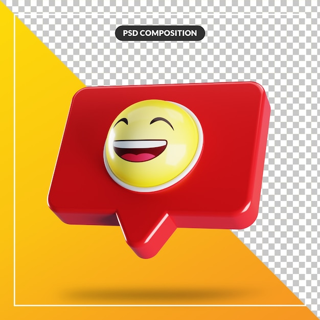 Visage Souriant Avec Symbole Emoji Souriant Dans La Bulle De Dialogue PSD Premium