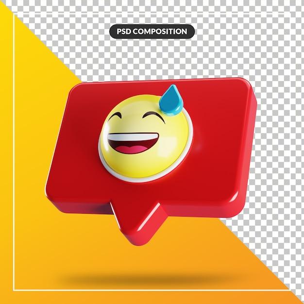 Visage Souriant Avec Symbole Emoji De Sueur Dans La Bulle De Dialogue PSD Premium