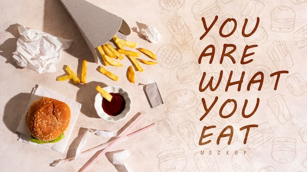 Vous êtes Ce Que Vous Mangez Avec Une Maquette Psd gratuit