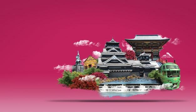 Voyage au japon, pays du soleil levant PSD Premium