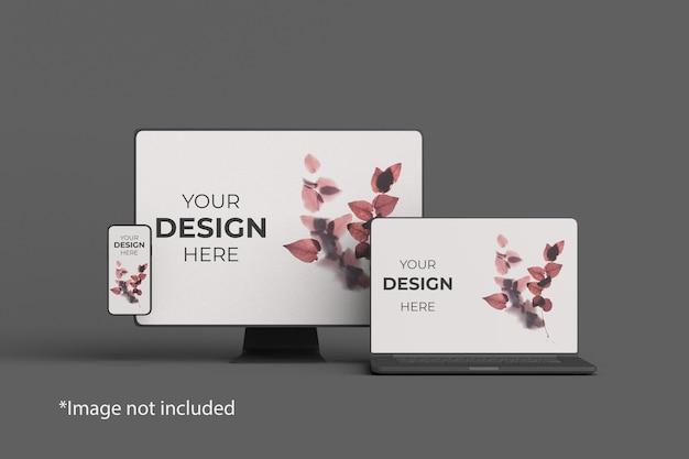 Vue D'angle Avant De Maquette Multi-appareils PSD Premium