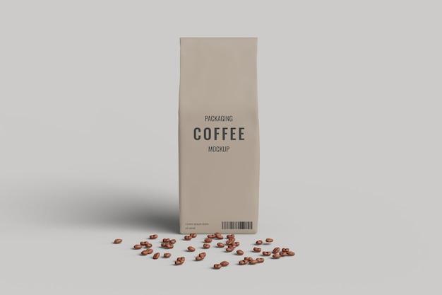 Vue D'angle Avant De Maquette De Sac De Café Avec Grain De Café PSD Premium