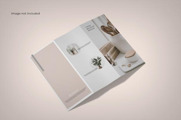 Vue D'angle élevé De Maquette De Brochure à Trois Volets PSD Premium
