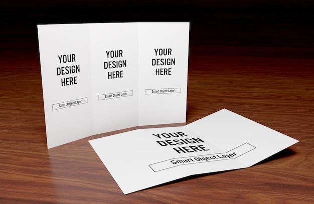 Vue d'une brochure à trois volets sur la maquette d'une table en bois PSD Premium