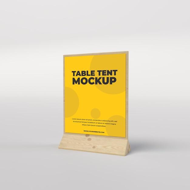 Vue Carrée De Tente De Table En Bois Pour Vue Latérale De Restaurant Et De Publicité PSD Premium