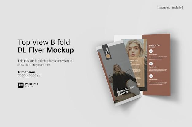 Vue De Dessus Bifold Dl Flyer Mockup Design Isolé PSD Premium