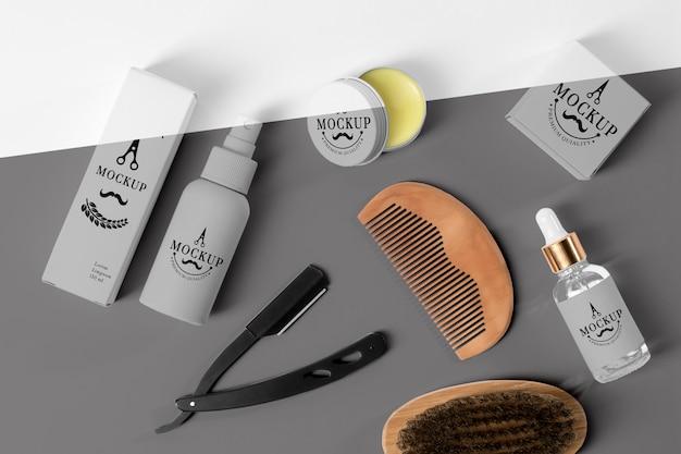 Vue De Dessus De La Boîte De Produits De Salon De Coiffure Avec Sérum, Rasoir Et Brosse PSD Premium
