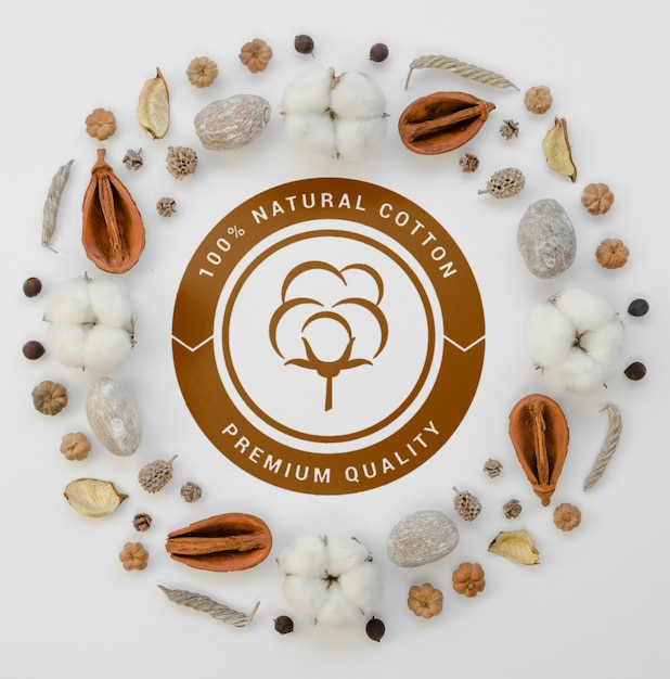Vue De Dessus Des Bourgeons De Coton Biologique Avec Maquette Psd gratuit