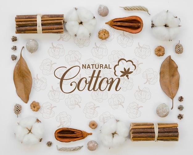 Vue De Dessus Des Bourgeons De Coton Naturel Avec Maquette Psd gratuit