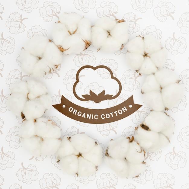 Vue De Dessus En Coton Biologique Avec Maquette Psd gratuit