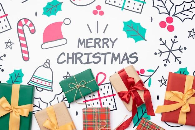 Vue De Dessus Du Concept De Noël Avec Des Cadeaux Psd gratuit