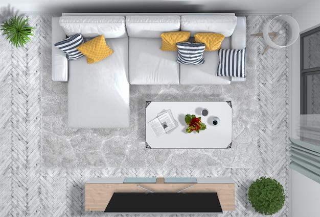 Vue De Dessus Du Salon Intérieur Avec Smart Tv PSD Premium