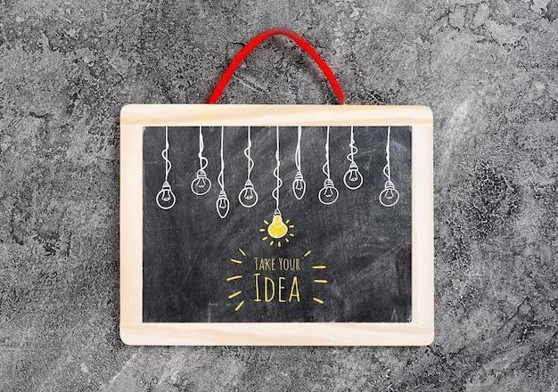 Vue de dessus du tableau d'idées Psd gratuit