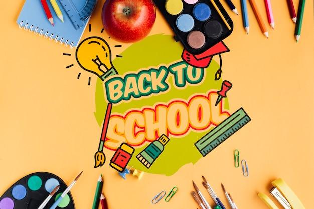 Vue De Dessus à L'école Avec Fond Orange Psd gratuit