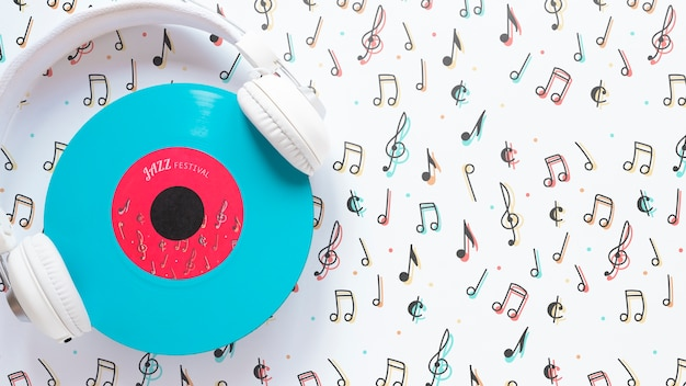 Vue de dessus des écouteurs de musique concept Psd gratuit