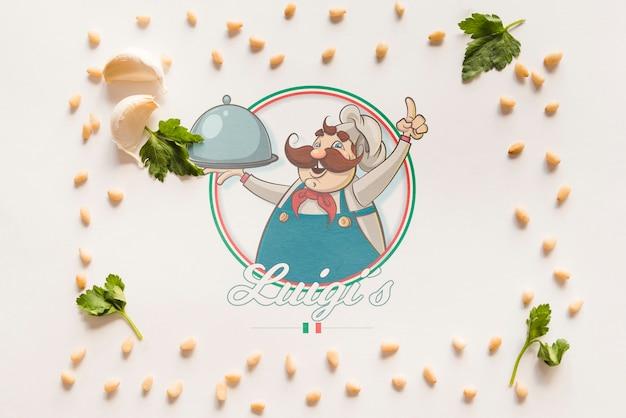 Vue de dessus des ingrédients de cuisine italienne avec un fond blanc Psd gratuit