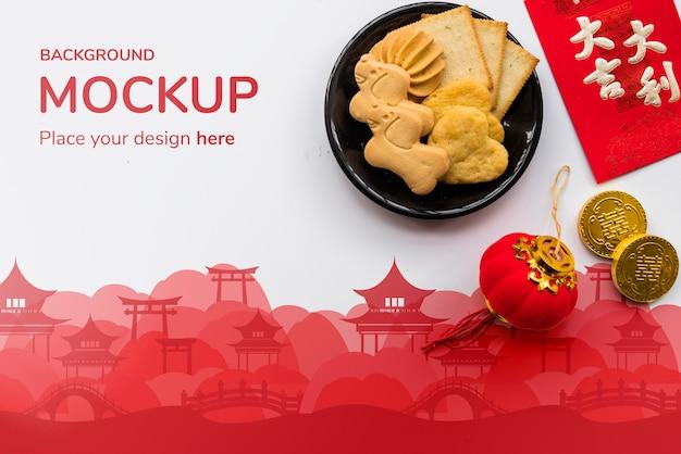 Vue De Dessus De La Maquette Du Conept Chinois Psd gratuit