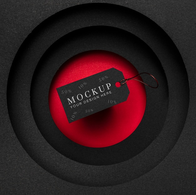 Vue De Dessus Maquette étiquette De Prix Vendredi Noir Et Couches De Tissu Psd gratuit
