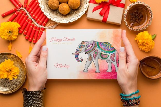 Vue De Dessus De Maquette De Vacances Festival De Diwali Psd gratuit
