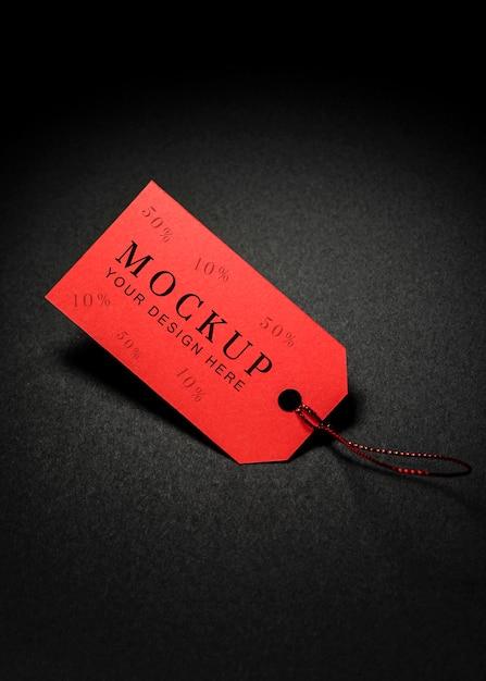 Vue De Dessus Maquette Vendredi Noir étiquette De Prix Rouge Psd gratuit