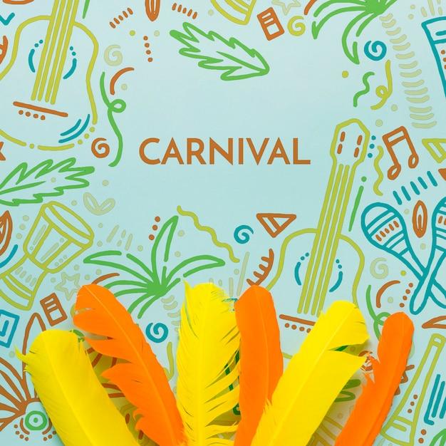 Vue De Dessus Des Plumes De Carnaval Colorées Psd gratuit