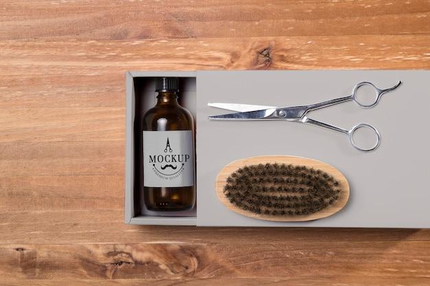 Vue De Dessus Des Produits De Soins De La Barbe Avec Baume Et Ciseaux PSD Premium