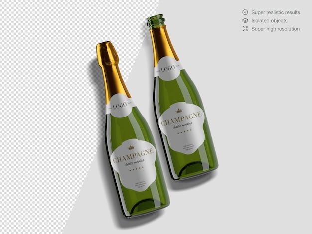 Vue De Dessus Réaliste Modèle De Maquette De Bouteilles De Champagne Ouvert Et Fermé PSD Premium