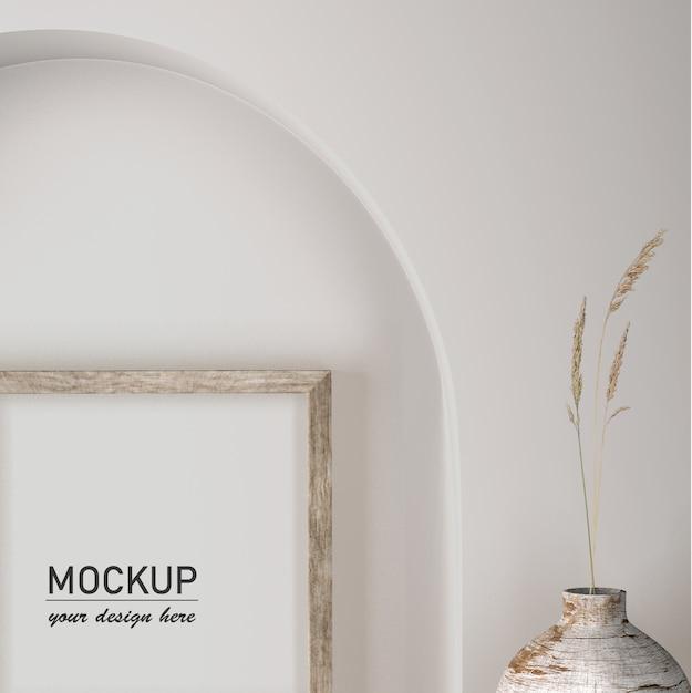 Vue De Face De La Décoration Murale Avec Vase Et Cadre Psd gratuit