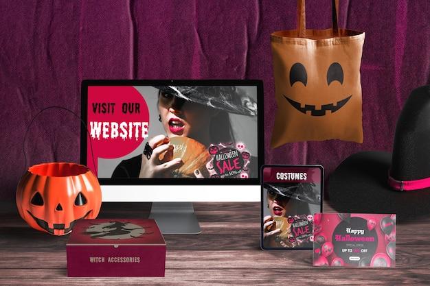 Vue De Face Du Concept D'halloween Psd gratuit