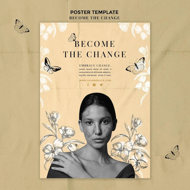 Vue De Face Femme Devenir L'affiche De Changement Psd gratuit