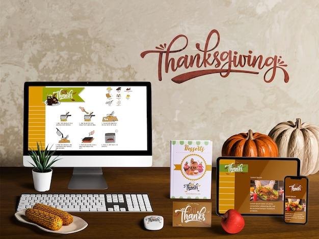 Vue de face de la maquette du créateur de la scène de thanksgiving Psd gratuit